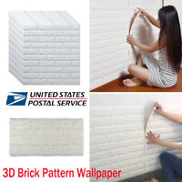 DIY Foam 3D Self Adhesive Panels Wall Stickers Home Decor Embossed White Brick