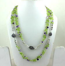 NATURAL PERIDOT & AMETHYST GEMSTONE LONG FINE ANTIQUE BEADED NECKLACE 98 GRAMS