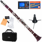 Mendini Bb Clarinet Rose Wood Body Silver Keys +Tuner+Stand+11 Reeds+Case~MCT-30