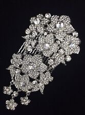 Bridal Pageant Prom Floral Hair Jewelry Comb Clear Crystal Silver Tone New