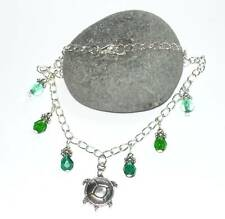 Pretty Anklet With Tibetan Silver Turtle & Bead Drops