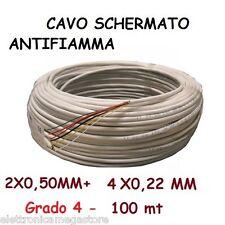 100 mt CAVO SCHERMATO ANTIFIAMMA 2X0,50 + 4X0,22MM + TERRA + SCH  Grado4 -2B4GR4