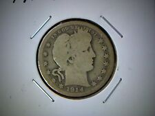 1914-S BARBER QUARTER DOLLAR COIN, UNITED STATES SILVER QUARTER COIN, OLD