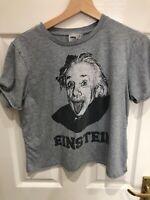 Asos Light Grey Cheeky Einstein T Shirt Short Sleeve Short Length