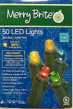 Merry Brite 50 LED Lights Multi Bulb/Green Wire - New Bulb Design
