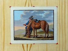 Quodlibet trompe-l 'œil inverno Schmidt naive pittura cavaliere Uomo con cavallo 18.jh