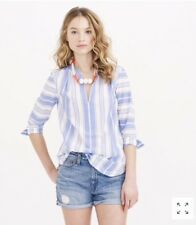 J. CREW XXS Awning Striped Tunic Popover Blouse Top Blue &White 3/4 Sleeves