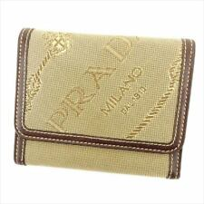Prada Wallet Purse Trifold Logo Beige Black Woman unisex Authentic Used T6379