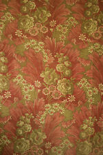 Antique French fabric 19th century jacquard weave pink & green tones 49x65 inch