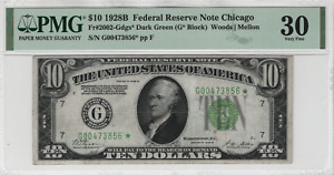 1928 B $10 Federal Reserve Star Note Chicago FR.2002-Gdgs* Dark Green PMG VF 30