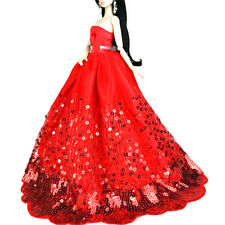 Elegant Red Dress with Gold Sequins Fit for Barbie Doll Party Dress Kids GiftF&F