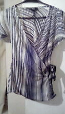 Pure Silk Jasper Conran Jeans Monochrome short sleeve Wrap top sz14.