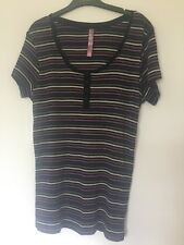 TU Size 16 Long Striped Top In Black White And Purple Shades