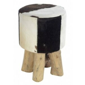 LUCINDA ROSE RODEO PONY STOOL BROWN COW HIDE & WOOD LEGS 45cm **FREE DELIVERY**
