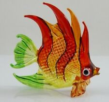 Glass Figurine Fish Tropical Handpainted Red/Orange Approx 3 inch long *S*
