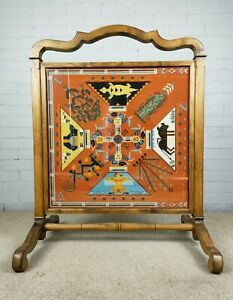 Early 20th Century Fire Screen with Embroidered / Tapestry Centre