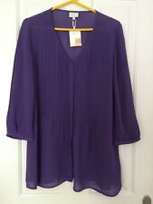 EAST Ladies Purple Button Front 3/4 Sleeve V-Neck Tunic size 12 BNWT - 5