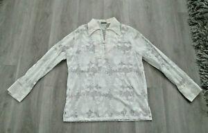70's Vintage Beau Tiki White Lace Butterfly Collar Boho Hippie Tunic Top Blouse