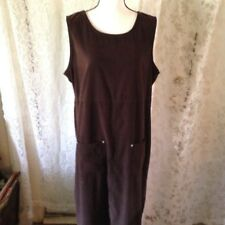 Vintage Studio Lg Brown Maxi Dress Jumper Modest Wear Pockets Sleeveless