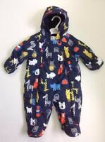 Ex M&S Baby Boys Navy Blue Animal Zoo Snowsuit All in One Age 0 3 6 9 12 18 £22