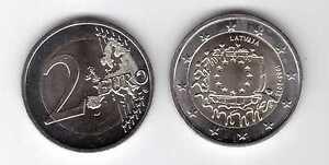 LATVIA  BIMETAL 2 EURO UNC COIN 2015 YEAR 30th ANNI EU FLAG