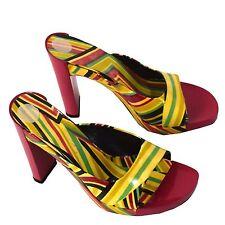 Via Spiga Womens High Heel Sandal Slip On Pink Multi Color Mules Shoes Size 7