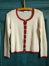 Vintage. Cashmere and Silk Cardigan. Made in Italy. Red and cream color.