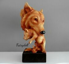 More details for wolf 'natural protection' wolf mother & cub wood effect bust ornament sculpture