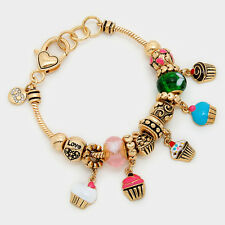 Cup Cake Bracelet Sliding Beads Charms Sunglasses Sweets GOLD Love Jewelry