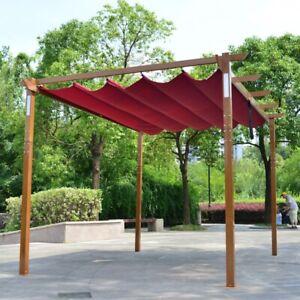 ALEKO Yard Outdoor Retractable Pergola with Solar LED light 10x13 ft Burgundy