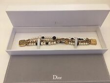 Vintage AUTH Christian Dior Fashion Bracelet Gold & Pearl With Leopard