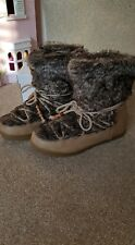 LADIES WOMEN'S WINTER SNOW BOOTS FUR TOP SIZE 7 BEIGE WARM COMFORTABLE AND SNUG