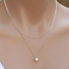 Women Double Chain Necklace Gold Plated Chains Pearl Charm Pendant NecklaceecG