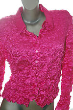 CRINKLE BLOUSE Button Scrunch Top Dress Shirt HOT Pink SIMON CHANG M-XL NWT