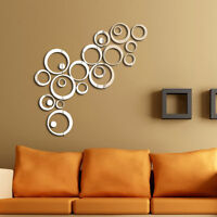 24pcs Circle Acrylic Plastic Mirror Wall Home Decal Decor Vinyl Art Stickers HU