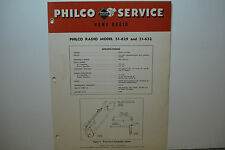 PHILCO RADIO-PHONOGRAPH SERVICE MANUAL MODEL 51-629 51-632 4 PAGES