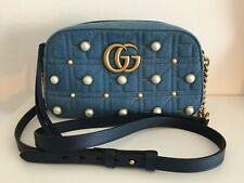 GUCCI Denim Pearl Small GG Marmont Chain Shoulder Bag Blue RARE Schulter Tasche