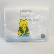 "Vintage Beacon Happitime Baby Blanket 40x45"" Blue White USA Made Nylon Binding"