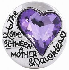 Purple Rhinestone Heart Love Mother Daughter 20mm Snap Charm For Ginger Snaps
