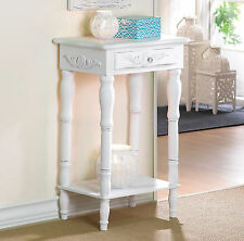 TABLE: Shabby Distressed White Night Stand End Table with Shelf NEW