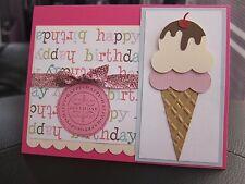 "Stampin Up ""Happy Birthday"" Ice Cream Cone Die-Cut Glitter Handmade Card"