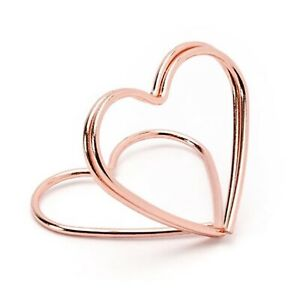 10 Rose Gold Metal Heart Place Card Holders, Place Name Holder