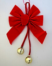"""red velvet Christmas bow with dangling gold 1½"""" jingle bells Commodore Mfg"""