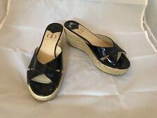 Kelsi Dagger Bianca Slide Sandals Black Patent Leather Rope Wedge Heel sz.7.5
