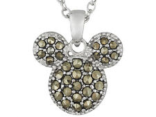 """Disney Authentic Marcasite Mickey Mouse Face Pendant with 18"""" Rolo chain"""