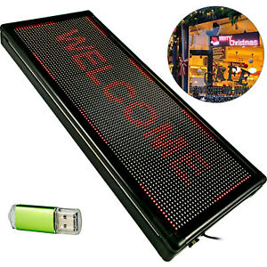 """Scrolling LED Sign 40"""" x 15"""" Red Sign Outdoor Advertising Business Message Board"""
