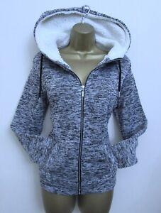 Primark Ladies Grey Zip Up Hoodie Hoody Jacket Size 10 - 12