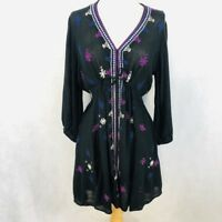 Free People Embroidered Peasant Long Sleeve Boho Dress Embroidered Tunic Top SP