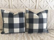 "2 Black Buffalo Check Pillow Covers Plaid Farmhouse 18"" Home Decor Cushion Cover"