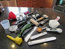 NEW lots of utensils for cooking. dough roller, pizza cutter, many brands